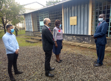 Israeli Ambassador HE Oded Joseph when he paid a courtesy call at RIAT. Welcoming the Ambassador to the Aquaculture Training Unit is the HOD Mr. Musa Ogola, on the far right is the Principal, Maren Omondi